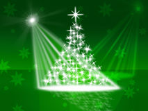 Xmas Tree Represents Lightsbeams Of Light And Celebrate Royalty Free Stock Photography