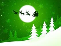 Xmas Tree Represents Santa Claus And Congratulation Stock Photos