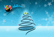 Xmas Tree with Santa. Xmas Celebration with nice Xmas tree theme stock illustration