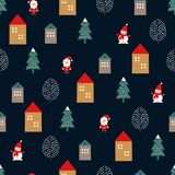 Xmas tree, Santa Claus, houses and cute snowman seamless pattern on dark blue background. Vector holidays illustration for new year and Christmas. Design for Stock Photos