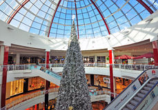 Xmas tree in shopping mall Stock Photo