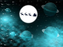 Xmas Tree Shows Full Moon And Christmastime Royalty Free Stock Photo