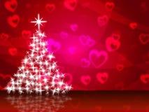 Xmas Tree Shows Merry Christmas And Greeting Royalty Free Stock Photos