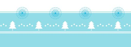 Xmas tree and snowflake banner. Flat design. Ribbon pattern. Royalty Free Stock Images
