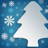 Xmas tree and snowflakes Royalty Free Stock Images