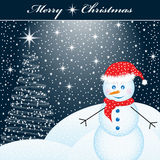 Xmas tree and snowman Royalty Free Stock Photos