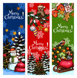 Xmas tree, snowman, gift sketched banner design. Merry Christmas sketched banner set. Christmas tree with lights, snowman and gift bag with presents, pine wreath royalty free illustration