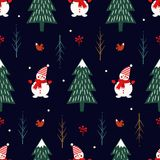 Xmas tree, snowman, squirrel seamless pattern on dark blue background. royalty free illustration