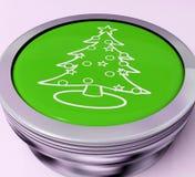 Xmas Tree Switch Means Happy Christmas Stock Photos