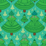 Xmas tree textile cute seamless pattern. Illustration abstract cute mascot xmas tree texture green color snow blue colors wallpaper seamless pattern green color Stock Photos