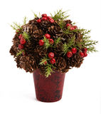 XMas Tree Toys. Christmas bouquet from cones of berries and branches Stock Image