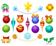 Xmas tree toys set. Isolated on white background. Christmas ornaments decoration balls and garlands, bells and bows vector illustration Royalty Free Stock Images