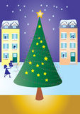 Christmas tree. A vector illustration of a Christmas tree with houses in the background and a woman returning home with gifts Royalty Free Stock Images