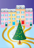 Christmas tree. A vector illustration of a stylized Christmas tree with houses in the background Stock Photos