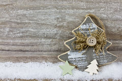 Xmas tree on wooden background Royalty Free Stock Images