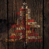 Xmas Tree Words Composition. Vector Stock Photo