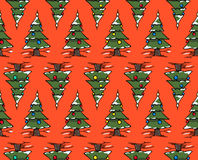 Xmas trees forest Stock Images