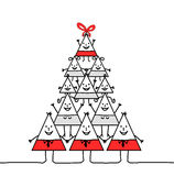 Xmas triangle family. Hand drawn cartoon characters - Xmas triangle family stock illustration