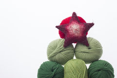 Xmas trre from yarns for hand made holiday Stock Photography