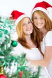 Xmas twins. Happy young xmas twins sisters portrait Royalty Free Stock Photos