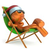 Xmas vacation man smiley character chilling beach deck chair. Happy New Year`s Eve holiday Merry Christmas sunglasses Santa Claus hat person enjoy travel sun Stock Photo