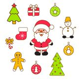 Xmas vector clipart set. Santa and christmas eve decor objects stock illustration