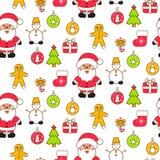 Xmas vector clipart set. Santa and christmas eve decor objects vector illustration