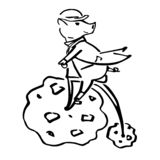 Art black and white piglet on the penny-farthing vector illustration