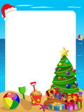 Xmas vertical frame tropical beach with Christmas hat hanging Royalty Free Stock Photos