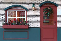 Xmas window and door Royalty Free Stock Photos