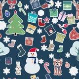 Xmas and winter holidays elements pattern Stock Photo