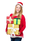 Xmas woman carry lots of gift box Stock Image