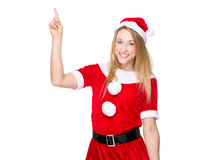 Xmas woman with finger point up Stock Photo