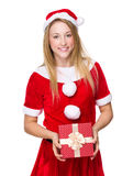 Xmas woman hold with giftbox Royalty Free Stock Image