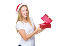 Xmas woman open with present box Royalty Free Stock Photography