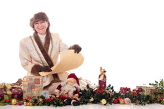 Xmas woman presents Royalty Free Stock Photography