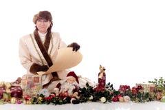 Xmas woman presents Royalty Free Stock Photos