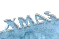 Xmas word cutout in ice Royalty Free Stock Photo