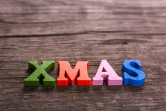 Xmas word made of wooden letters Stock Photos