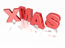 Xmas word in red. The word XMAS in red letters Stock Photo