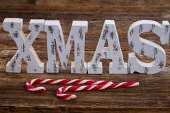 Xmas word on wood Stock Image