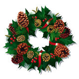 Xmas Wreath. Christmas Wreath with red ribbon and pine cones. Vector Illustration Stock Photography