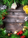 Xmas wreath card with with copyspace on wooden background. Stock Photography