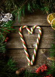 Xmas wreath card with with copyspace on wooden background. Stock Photo