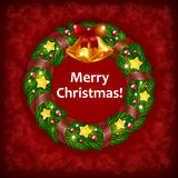 Xmas wreath on Red Background. An editable vector illustration of a Christmas wreath with bells on a red background Stock Photos