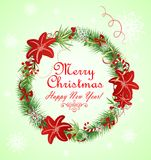 Xmas wreath with red flowers Royalty Free Stock Photo