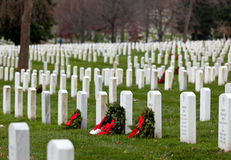 Xmas wreaths in Arlington Cemetery Stock Photography