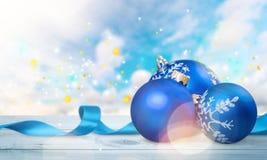 Xmas. Seasonal blue background white natale decor stock photography