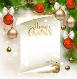 Xmas zaświeca tło z jedlinowymi gałąź, evening piłki i list z Święty Mikołaj podpisem Złota tekstura Wesoło Obraz Royalty Free