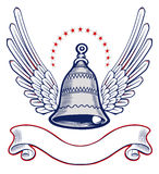 Xmass bell wing emblem. On Stock Photography